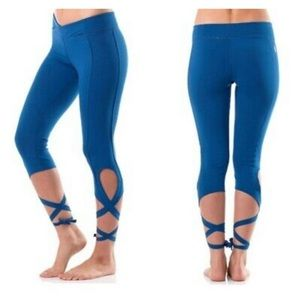 Free People Movement Turnout Blue Crop Lace Up Leggings